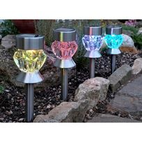 Smartsolar - Balise ou lampe solaire verre Crystal, Lot de 4