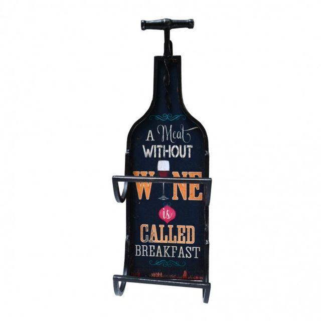 Mobili Rebecca Range- bouteilles Etagere Mur Bois Metal Noir Vertical Country Vin Pub Sejour