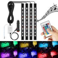 Multicolor Lampe Télécommande Fil Rgb 4 Led Néons Intérieur En Allume 12v 1 De Avec Cigare Sans Voitures 2IWH9ED