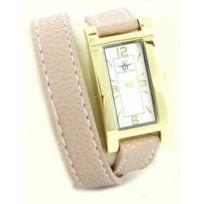 M.johnf - Montre Femme Cuir Beige Rosé Dble-Bracelet Michael John 2216