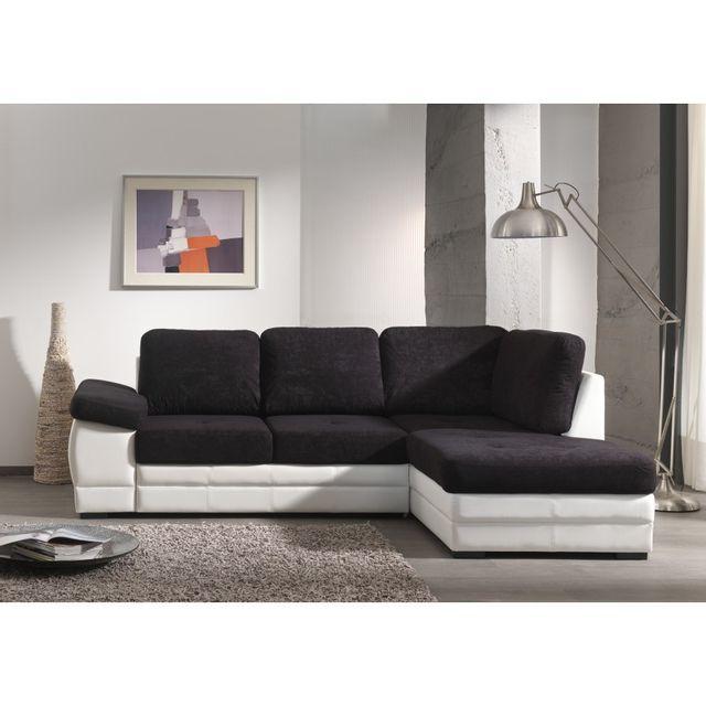 rocambolesk canap lyon angle droit noir blanc achat vente canap s pas chers rueducommerce. Black Bedroom Furniture Sets. Home Design Ideas