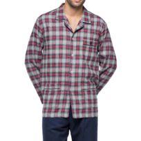 Guasch - Pyjama long en flanelle de coton : veste boutonnée à carreaux bleu marine, gris et rouge et, pantalon bleu marine