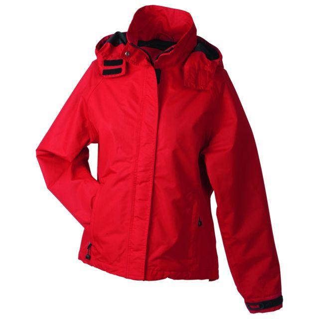 Veste softshell à capuche femme JN1077 rouge coupe vent et imperméable