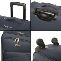 Casino - Valise trolley souple - 70cm - 4 roues - Bleu Marine