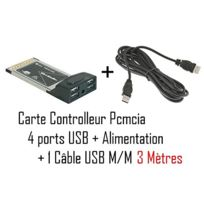 Cabling - Carte contrôleur Pcmcia-usb-4P + Hub Usb 4 ports Cab-10 . + Cable Usb M/M 3 mètres