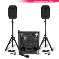 "Ibiza Sound - Système sono triphonique 1100W Caisson 12"" + Enceintes 8"" Usb/BT + Pieds + Câbles + Micro"