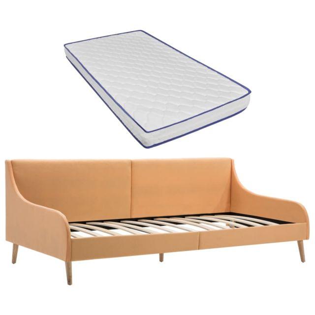 Vidaxl Cadre de lit de jour avec matelas en mousse Orange Tissu