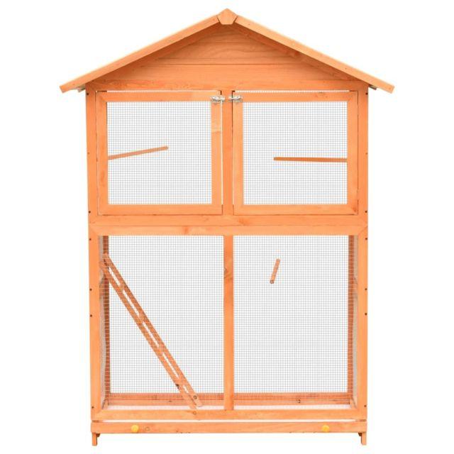 Icaverne - Cages et perchoirs à oiseaux ligne Cage à oiseaux Pin massif et bois de sapin 120x60x168 cm