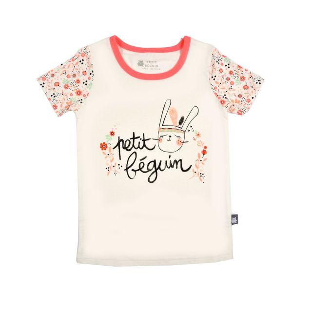 f7ab5c405b0a9 Petit Beguin - Tee shirt fille manches courtes Petite Plume - Taille - 10  ans 140 cm Blanc cassé - pas cher Achat / Vente Tee shirt enfant -  RueDuCommerce