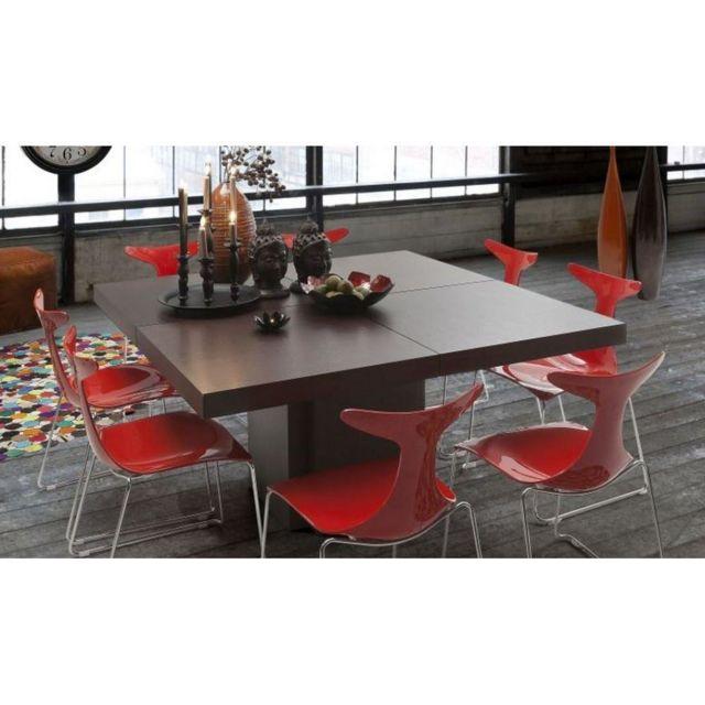 Inside 75 Table repas Dusk 150 x 150 cm en bois teintée chocolat