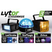 Lytor - Pack Zirkus - 3 Jeux de lumière stroboscope + dôme Astro 6 Leds + Derby 4 Leds Rgbw