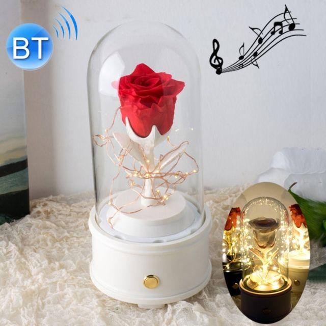 Wewoo Fleurs Artificielles Creative Single Rose Eternal Flower Glass Cover Night Light Gift BoxBluetooth Version White