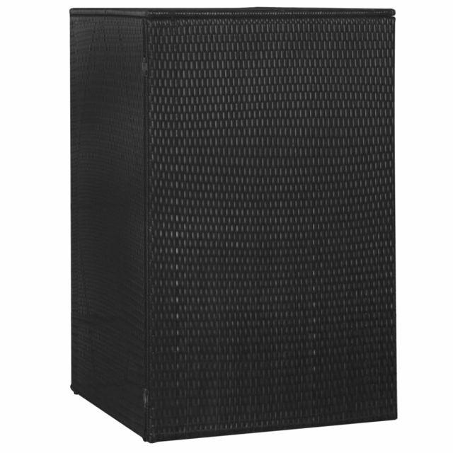 Vidaxl Abri de poubelle simple Noir 76x78x120 cm Résine tressée