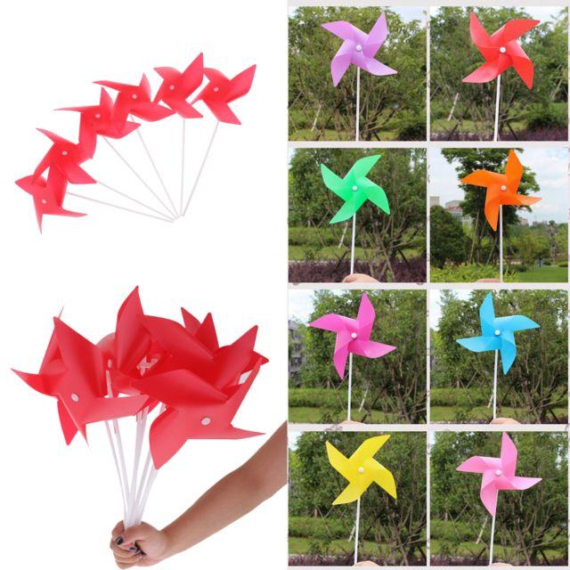 100pcs 3d fleur moulin à vent auto-assemblage décor de jardin enfant jouet en plein air rouge