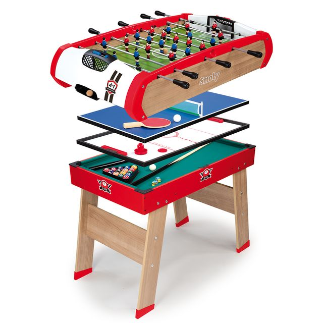 smoby table de jeux powerplay 4 en 1 640001 pas cher achat vente baby foot rueducommerce. Black Bedroom Furniture Sets. Home Design Ideas