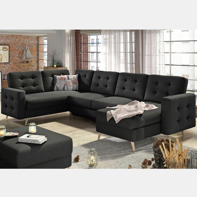 Nouvomeuble Canapé d'angle U en tissu noir Atsuko