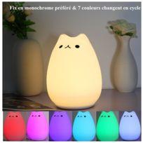 Lampe Chaudamp;7 De Led Chat Usb Couleur Veilleuse Silicone Changement Rechargeable Blanc Chevet 4L3AjR5