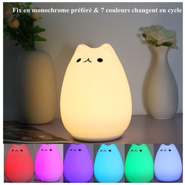 Chaudamp;7 Led Usb Veilleuse Blanc Lampe De Silicone Rechargeable Couleur Chevet Chat Changement 3ALj54R