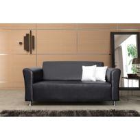 Relax design - Canapé Luis noir 2 places sofa divan
