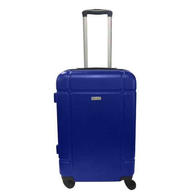 CARREFOUR - Valise taille L rigide - ABS - 4 roues - H 71 cm - Bleu