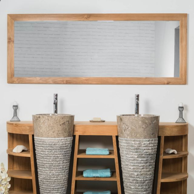 Wanda Collection Grand Miroir rectangle en teck massif 180 x 70