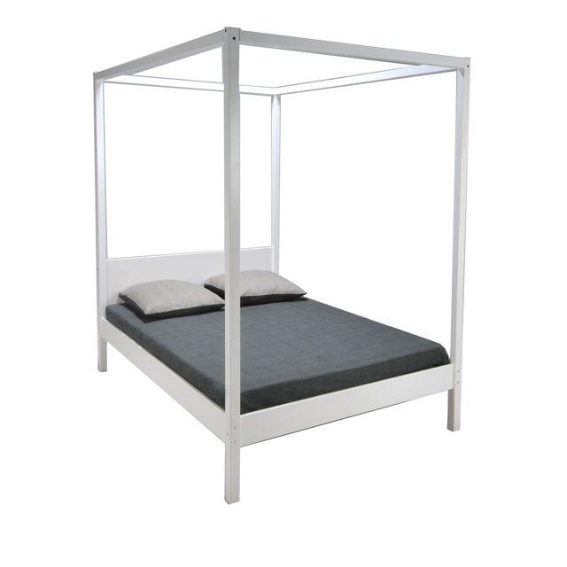 alin a romance chambre lit baldaquin blanchi en pic a 160x200cm pas cher achat vente. Black Bedroom Furniture Sets. Home Design Ideas
