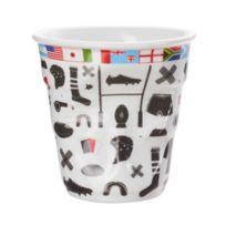 Revol - Gobelet cappuccino en porcelaine avec motifs Froisses