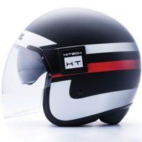 Blauer - casque jet moto scooter Pod Graphic fibre noir-blanc-rouge mat