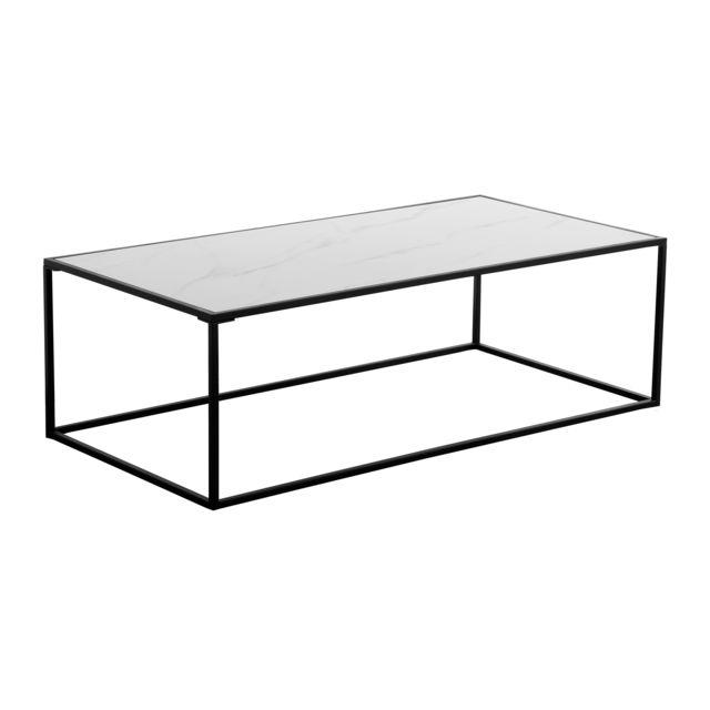 Rendez Vous Deco Table basse rectangulaire Komis en verre et céramique