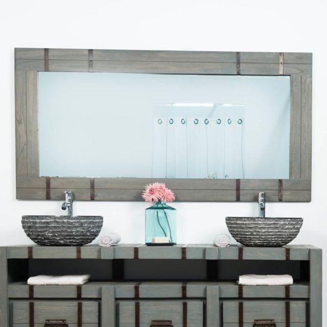 Wanda Collection Grand Miroir de salle de bain Loft 160x80 gris