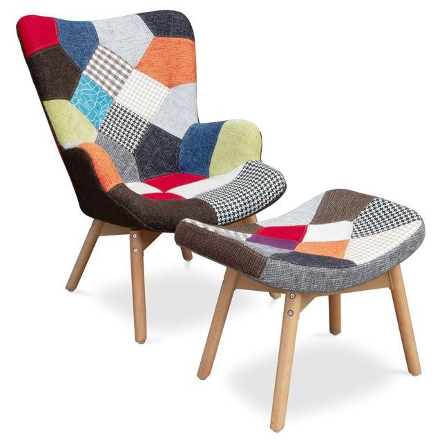 Privatefloor Fauteuil avec repose-pieds Kontor Patchwork - Design Scandinave - Contour Grant Featherston Style