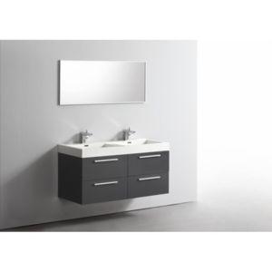 casa baoli ensemble meuble salle de bains double vasque 120 cm ideo gris fonc laqu pas. Black Bedroom Furniture Sets. Home Design Ideas