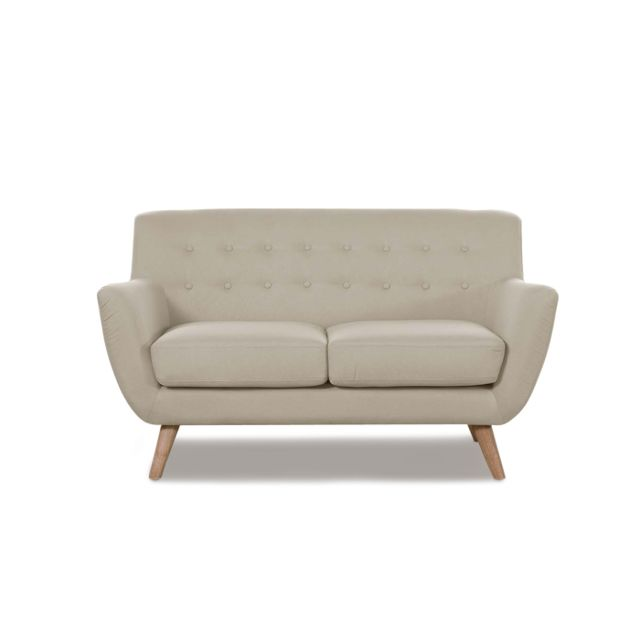 ONEBOUTIC Canapé scandinave 2 places taupe - Nils