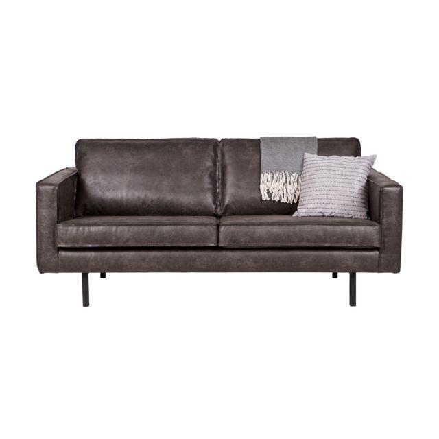 Bepurehome Canapé 3 places en cuir noir, piètement en bois - Collection Rodéo