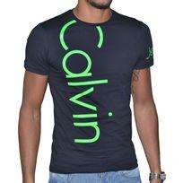Calvin Klein - T Shirt Manches Courtes - Homme - Cmp13s Fluo - Noir Vert Fluo