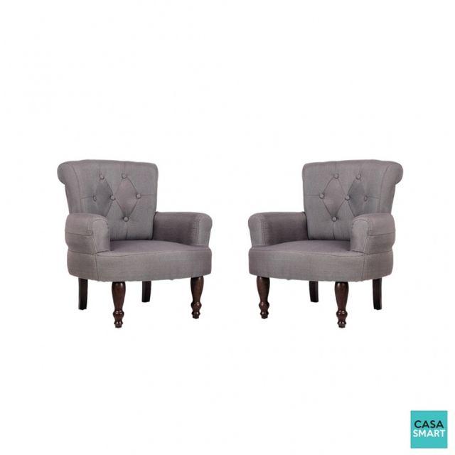 Casasmart Lot de 2 fauteuils Newton gris