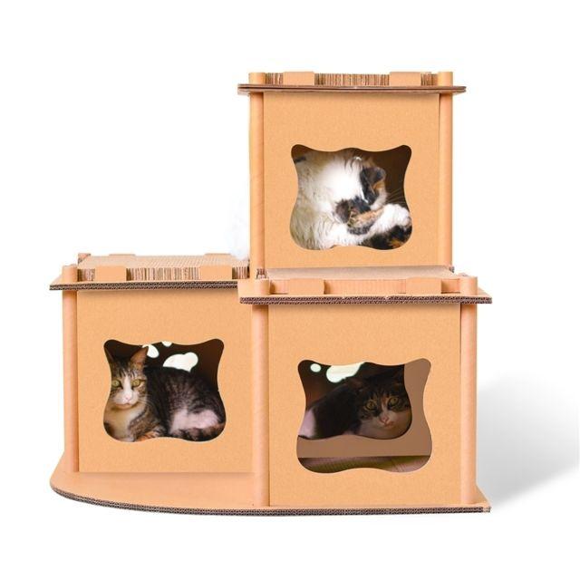 Wewoo Panier Coussin Cat Villa en papier ondulé Cat Scratch Board, Litière pour Chat, Meulette Griffe Bois