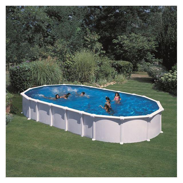 gr kit piscine ovale en acier blanc haiti 7 30mx3 75mx1. Black Bedroom Furniture Sets. Home Design Ideas