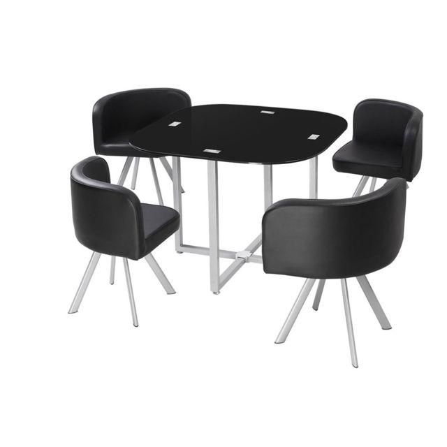 COTE COSY   Table à Manger CORNER 90 Cm Noir En Verre + 4 Chaises