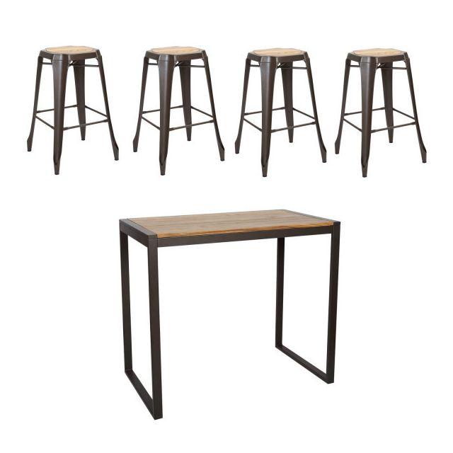 LEITMOTIV Table Acier Argile Brun H 70 cm
