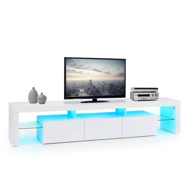 ONECONCEPT Quentin Meuble bas banc TV lumières d'ambiance LED - blanc