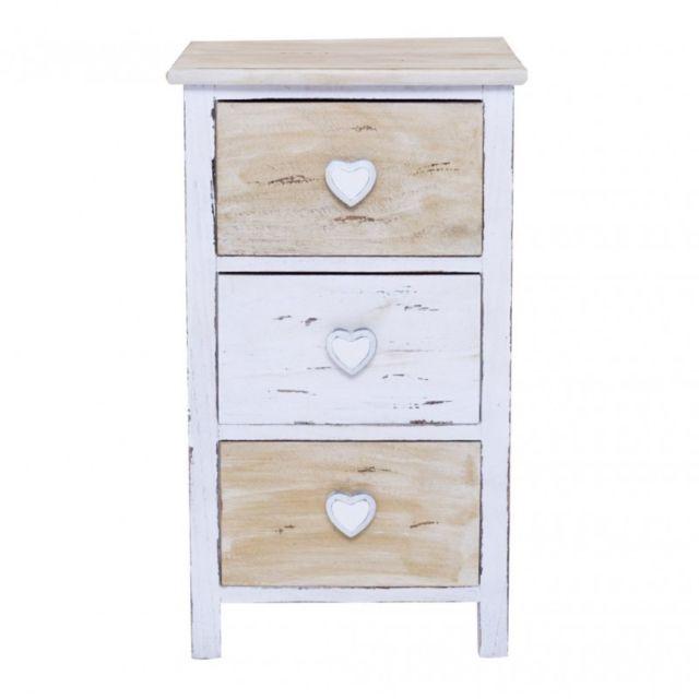 Mobili Rebecca - Table de Nuit 3 Tiroirs Romantica Bois Clair Blanc Cœur  Romatique Bain Chambre d64de15b405e