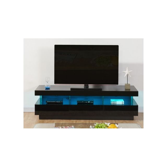 vente unique meuble tv fabio mdf laqu noir leds 3 tiroirs 3 niches pas cher achat. Black Bedroom Furniture Sets. Home Design Ideas
