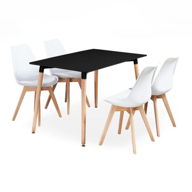 Home Design International Ensemble Table Et 4 Chaises Blanches