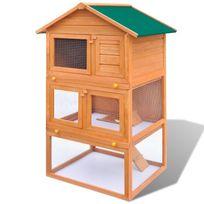 Vimeu-Outillage - Cage Clapier Extérieur en Bois pour Lapins 3 Etages