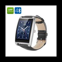 Auto-hightech - Montre Bluetooth étanche Android et iOS, moniteur de fréquence cardiaque, podomètre, moniteur de sommeil Argent