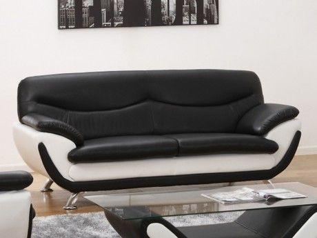 Vente-unique Canapé 3 places en simili Indice - Bicolore noir et blanc