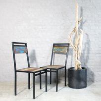 Made In Meubles - Chaise industrielle métal et bois coloré   Moxch