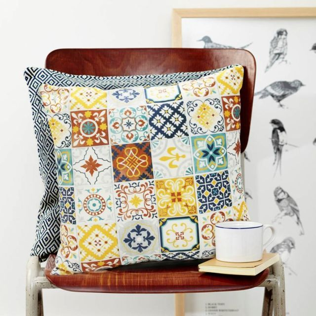 mon beau tapis coussin carreaux de ciment terra cotta 45x45 pas cher achat vente coussins. Black Bedroom Furniture Sets. Home Design Ideas