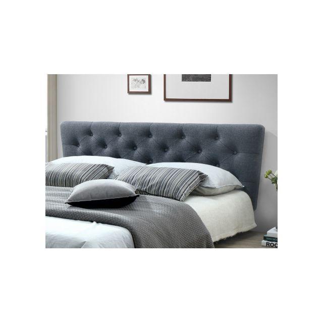 marque generique t te de lit scandinave gunilla tissu 160 cm gris pas cher achat. Black Bedroom Furniture Sets. Home Design Ideas